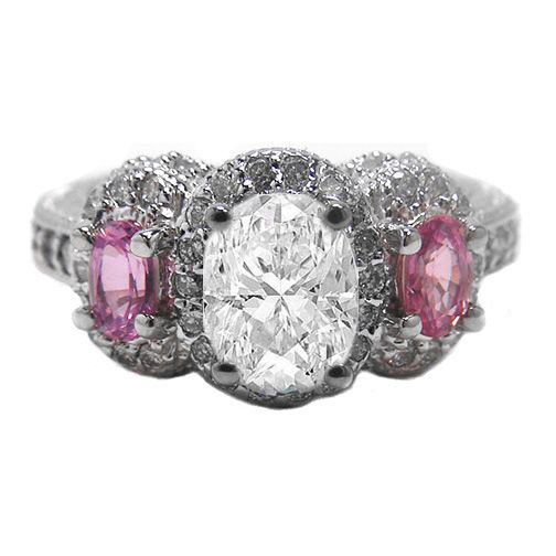 Three Stone Oval Diamond Vintage Engagement Ring With Pink