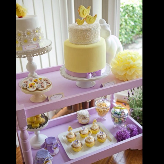 Lemon & Lavender baby shower cake via Pink Frosting