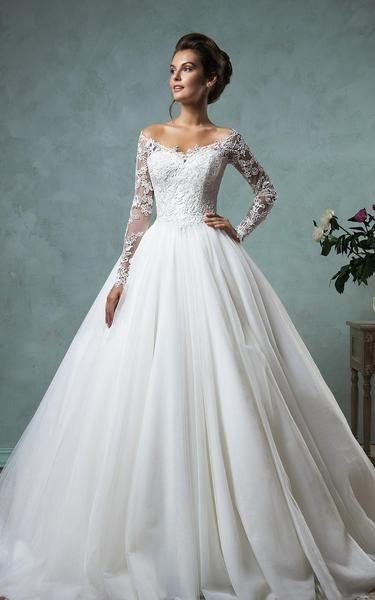 Robe de mariée fourreau A-line en dentelle et tulle avec manches courtes et train-713555 – Rochie de mireasă