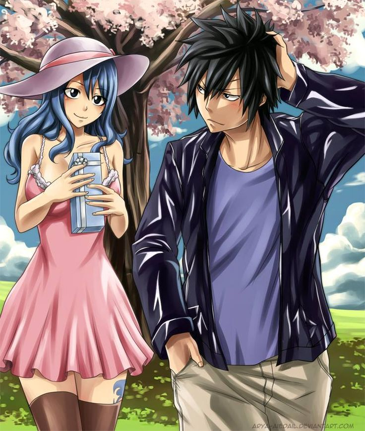 Arya Black Eyes Hair Legwear Blue Dress Eye Contact Fairy Tail Gray Fullbuster Juvia Lockser Long Looking At Another Outdoors Pink