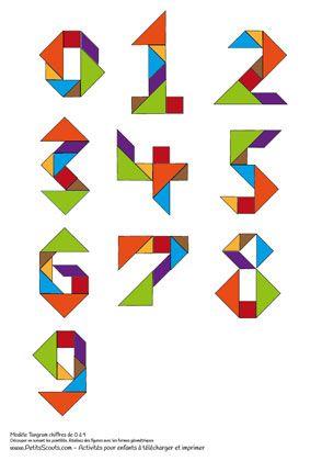 Modèle Tangram à imprimer. Modèles des chiffres