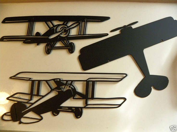 Metal Wall Decor For Bedroom : Bi plane airplanes set of metal wall art cole s