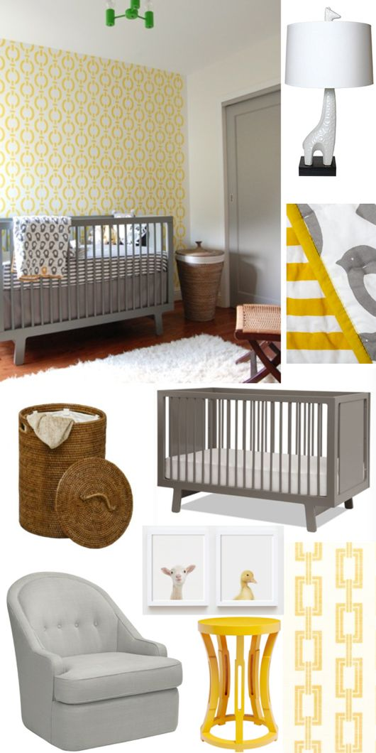 Gray & Yellow Nursery Room // Niche Interiors #nursery #yellow #gray