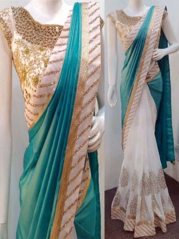 Massive sky blue net benglory silk designer saree with beige Color Banglory silk Blouse.It contained the work of Multi with Lace border.The Blouse which can be customized up to bust size 44