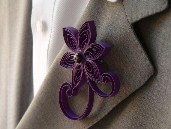 Grape Purple Boutonniere Violet Purple Flower by MiaettiaCreations, $16.00