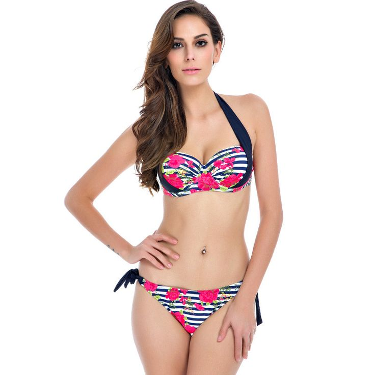 Available in Large Sizes NAKIAEOI New Sexy Bikinis Women Swimsuit Push Up Bikini Set Bathing Suits Halter Beach Wear Plus Size Swimwear XXL