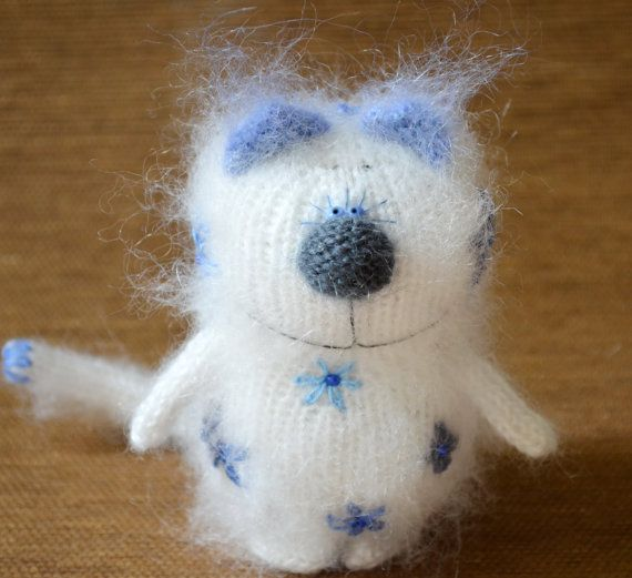 Preslyn White Cat Embroidered with Flowers  by MiracleStore