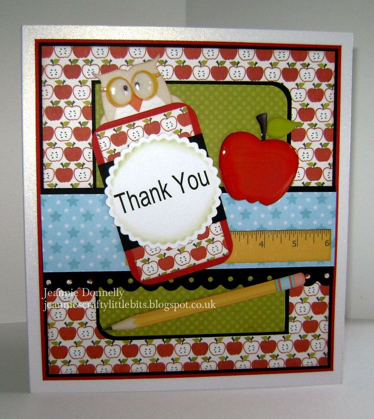 "Another ""Thank You Teacher"" card - I cased this on a baby card by #Susan Liles ( #www.susiestampalot.com ) which was based on a MFT Sketch - #MFTWSC43 -nice little layout, I thought"
