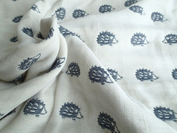 Ready to ship This Hedgehogs navy / off-white baby blanket