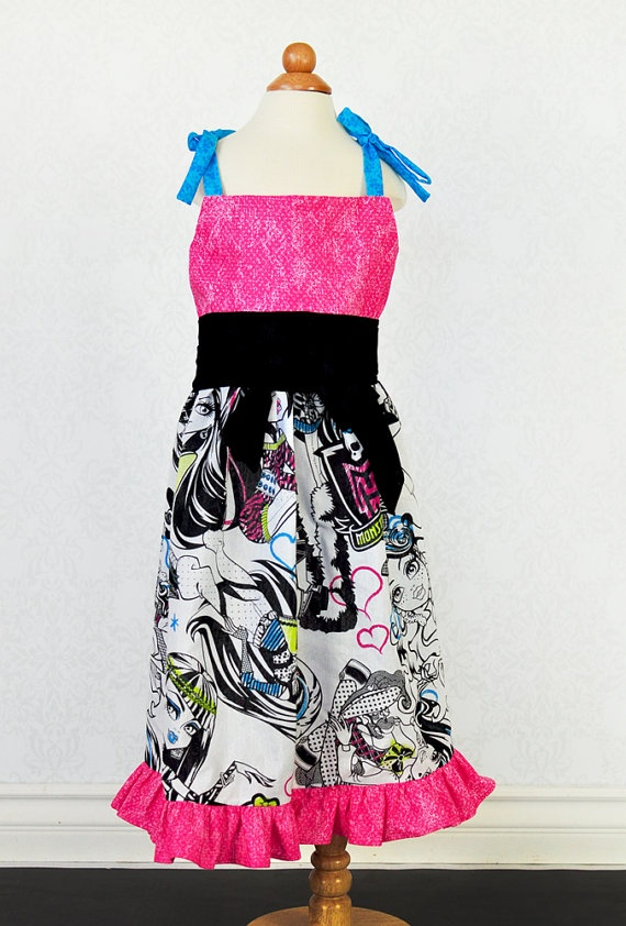 Customer Monster High Dress with Sash Sizes 12mo4t by PPandLL, $37.00