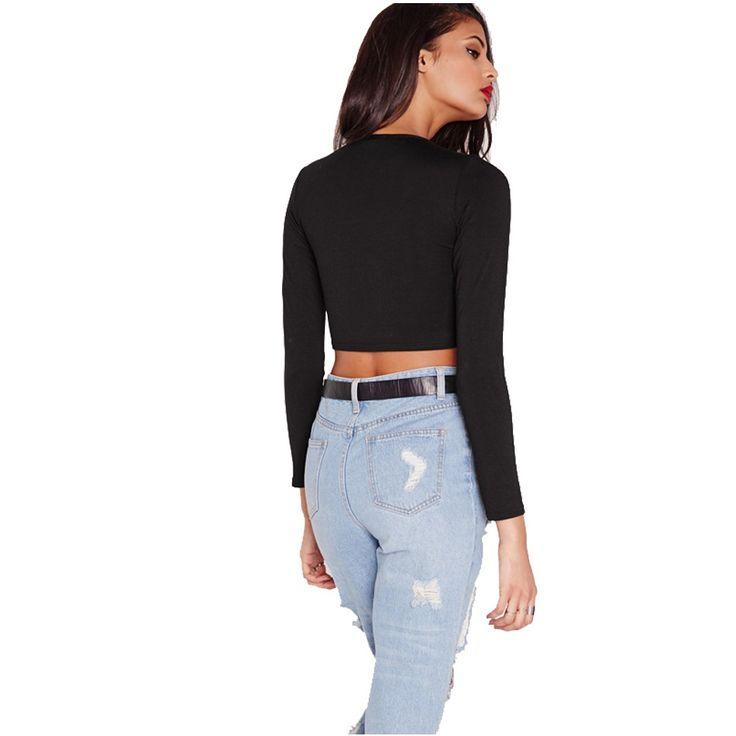 Sexy Black tshirt women 2016 Long Sleeve Cross Bust tee shirt femme Fitness Cropped Short T Shirts camisetas mujer  (3)