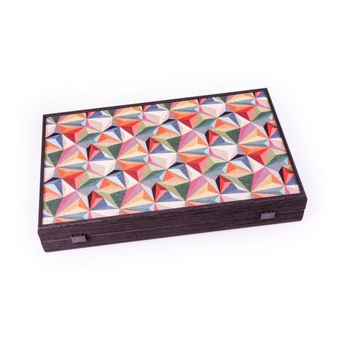 Handcrafted Creative Backgammon With Side Racks For Checkers - Contemporary Geometric Design In Multicolor Fabric