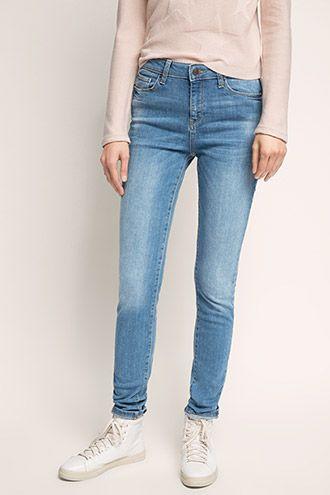 Esprit / High waist jeans van gebleekt denim