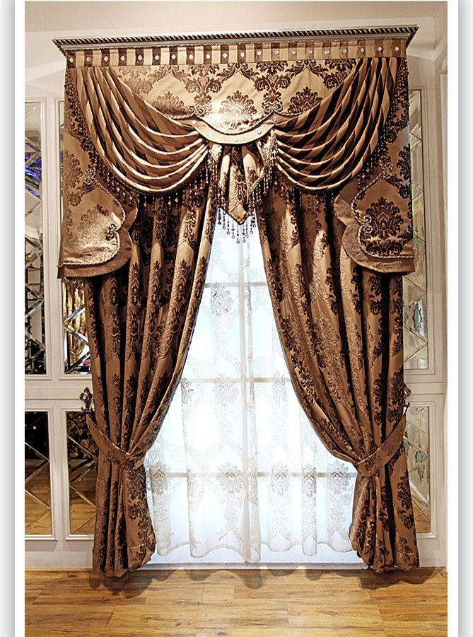 Textile window blinds curtain brown chenille curtains