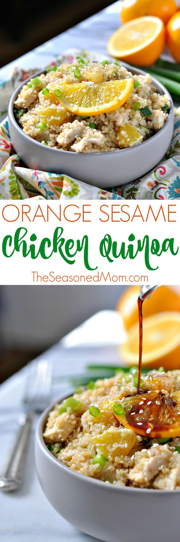 Orange Sesame Chicken Quinoa is a protein-packed healthy lunch or dinner option that comes together easily, can be made in advance, and is bursting with fresh citrus flavor!