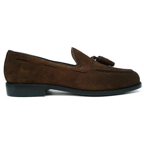 Zapato mocasín tassel en ante color cuero de Berwick 1707 vista lateral