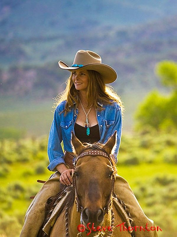 ~ Western Style Embroidered Felt Hat worn by Brit West.  She's engaged in one of my very favorite activities: horseback riding! ~