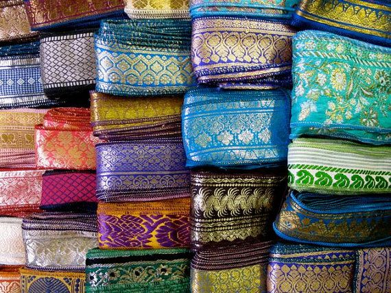 get lucky with a surprise/random bundle of silk sari borders, lovely vintage sari trims you can use in your creative sewing and art projects!  15 Yards Mixed Silk Sari Borders Sari Trim SR64 by RibbonsAndSilk