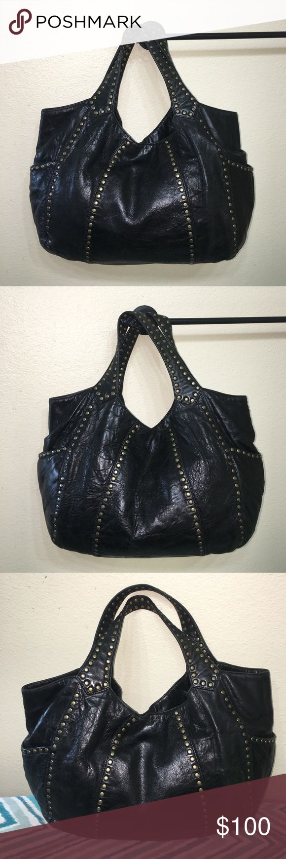 """Authentic Kooba black leather studded Purse tote Authentic Kooba black leather studded Purse Handbag tote measures 17"""" long 12"""" tall  5"""" wide strap drop 6"""" very good condition light wear super nice purse Kooba Bags Shoulder Bags"""