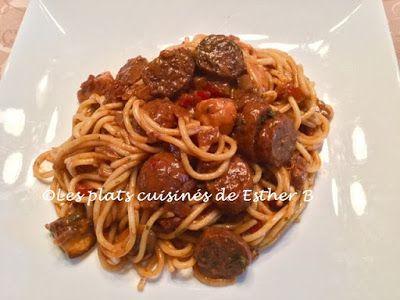 Les plats cuisinés de Esther B: Spaghetti à la saucisse et aux légumes dans une sa...