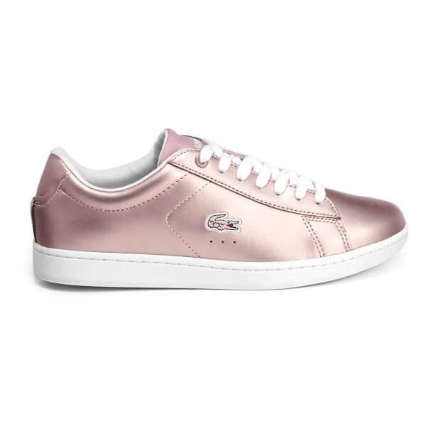 Lacoste Women's Carnaby Evo 117 3 Cupsole Trainers - Light Pink ($88) ❤ liked on Polyvore featuring shoes, sneakers, pink, lacoste sneakers, lace up sneakers, laced sneakers, metallic shoes and lacoste trainers