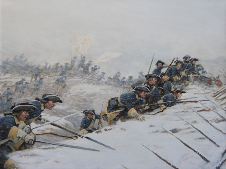 Swedish infantry charging over the trench, Battle of Poltava, Great Northern War