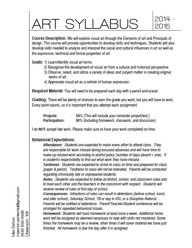 Hey guys! I am so excited to get to meet you all! This year is going to be great and a ton of fun! Here is a copy of your syllabus for middle school art.