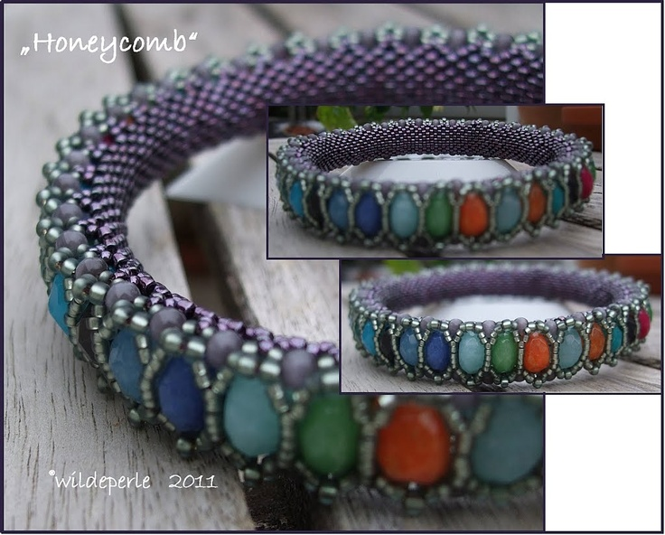 wildeperle: Honeycomb Bangle  German site, check Bead & Button April 2011