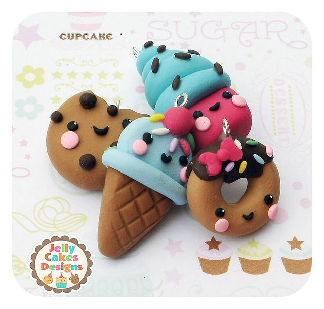 Jelly Cakes Designs: cutie treats ~ charms, miniature food, pendants, bow centres made from polymer clay.