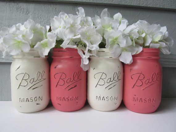 Painted and Distressed Ball Mason Jars Coral by theretroredhead, $28.00