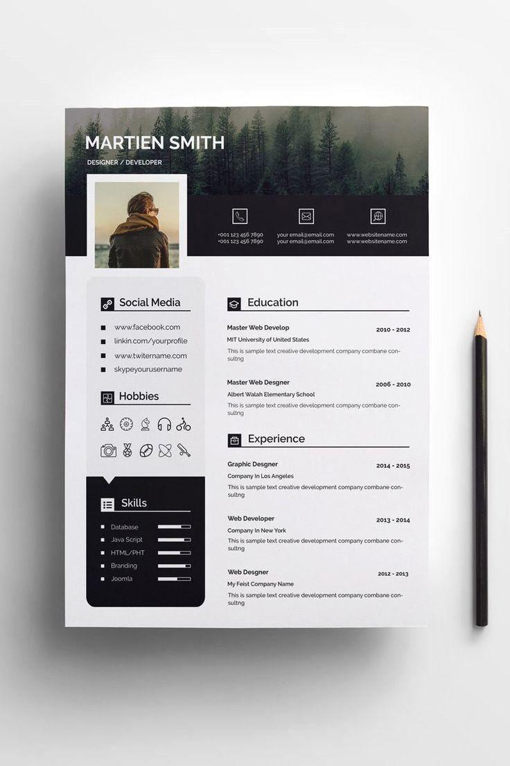 Martien Smith Cv Resume Template 72015 Graphic Design Resume Resume Design Creative Cv