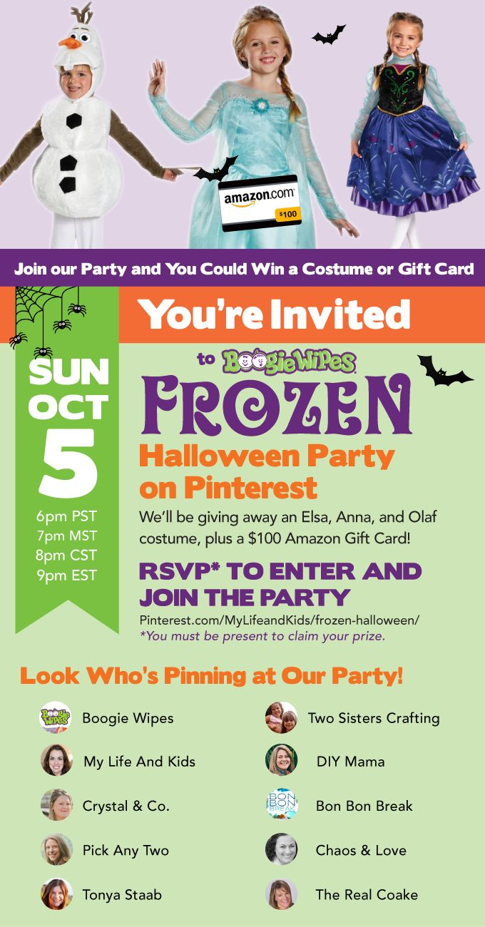 Join us for the Boogie Wipes Frozen Halloween Party on Pinterest. We'll be pinning our favorite Halloween and Frozen posts, and you could win Frozen Halloween Costumes or a $100 Amazon Gift Card. Just click here to RSVP, and we'll see you at the party!  http://mylifeandkids.com/?p=17419