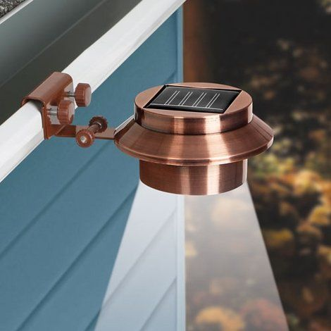 Rethink Solar-Powered Copper Gutter Light 155015, Pack of 2. Rethink Solar-Powered Copper Gutter Light uses long-lasting LED bulb technology and mounts on any gutter, wall, or post.  * Pack of 2  * Color: Copper  * Easy tilt mechanism for perfect angle  * Illuminates yards, pathways & more without messy wiring or electricity