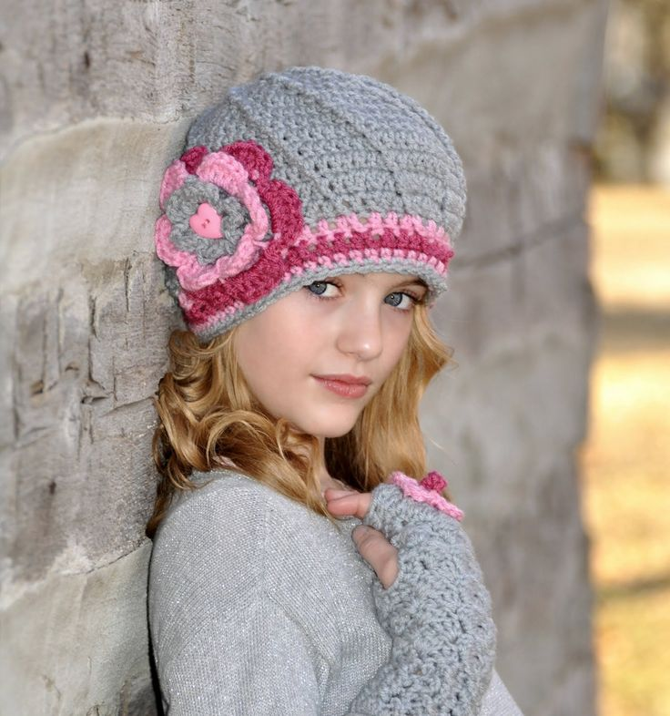 Crochet+hat+for+Tween+Girls+Pink+and+Grey+Gray+by+foreverandrea,+$39.99
