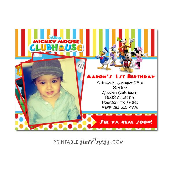56 best Mickey Mouse Invitations images – Personalized Mickey Mouse Birthday Invitations