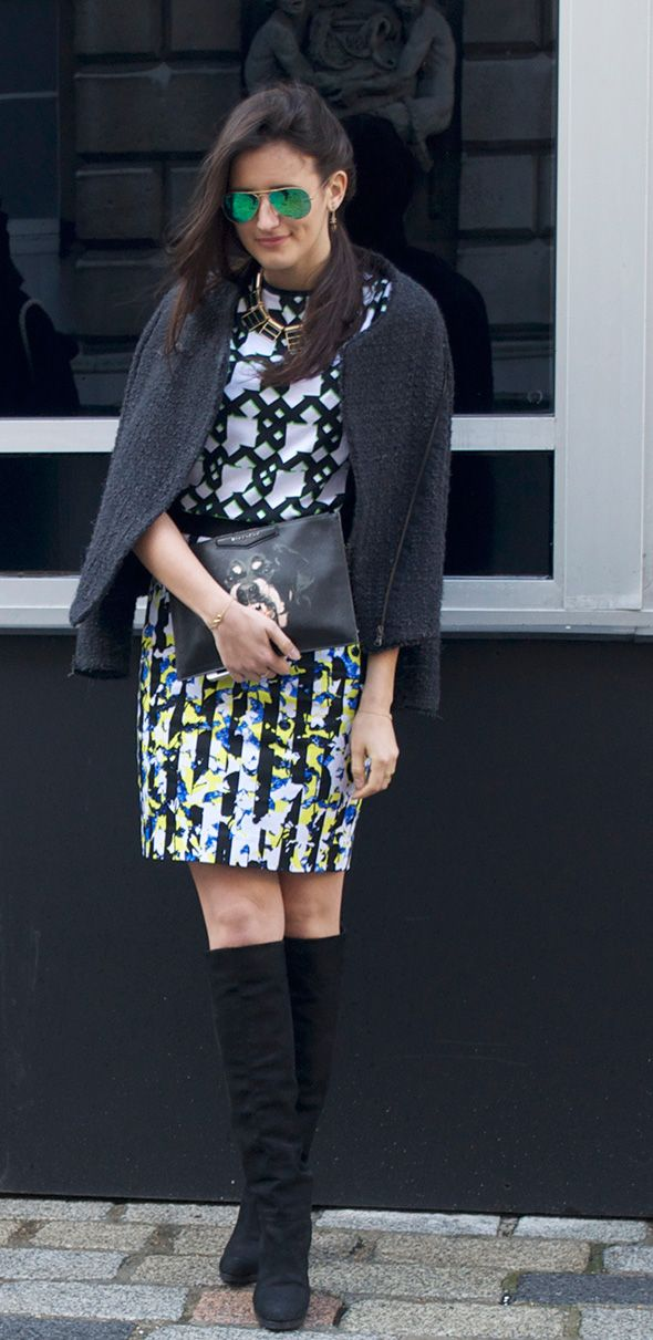 We love this printed outfit as seen at #LFW #LondonFashionWeek