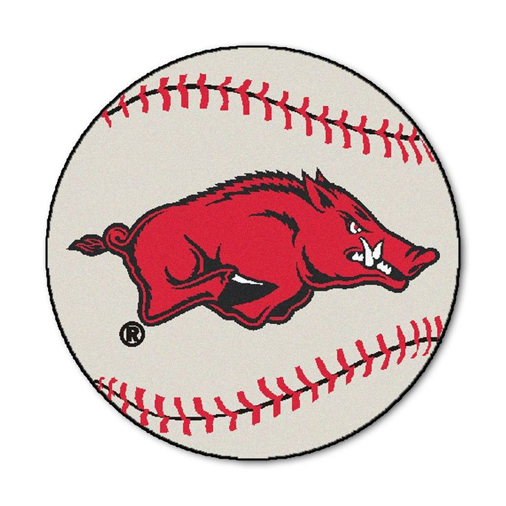 Arkansas Razorbacks Grand Slam Baseball Area Rug