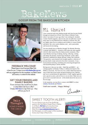 March 2014  BakeNews - issue #7 BakeClub's Monthly Newsletter