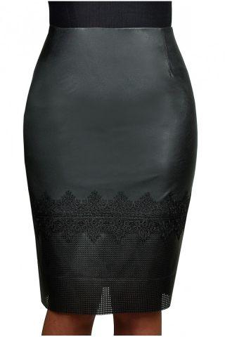 Юбка из эко-кожи с кружевной отделкой, на подкладке – купить в интернет-магазине «L'MARKA»: доставка по России