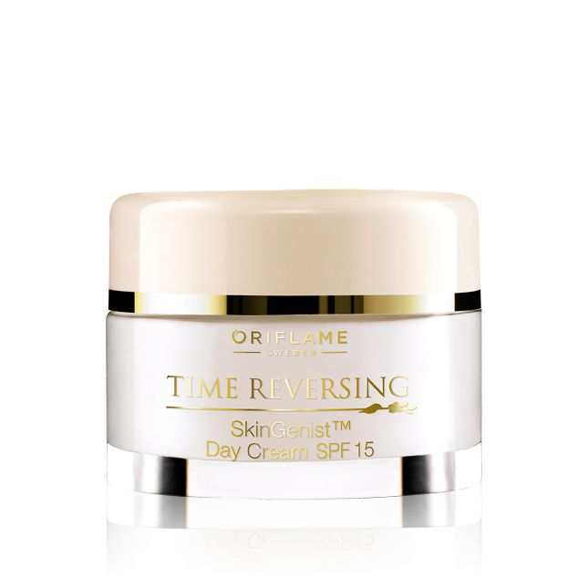 Oriflame Time Reversing SkinGenist (TM) Day Cream SPF 15 (24181) - Inspired by genetic research, a potent age defying formula counteracts skin ageing. Extra-pure encapsulated genisteinSOY acts on the skin's Beauty Genes (TM) to help maintain plump, supple skin that radiates vitality and youthfulness. With built-in protection against free radicals and photo-damage. 50 ml.