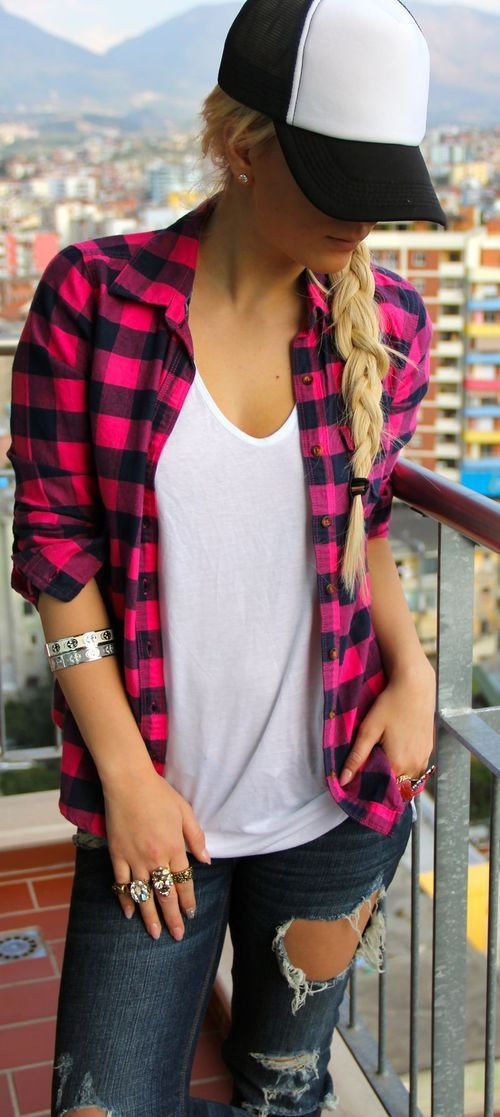 Pink and black flannel shirt, denim, but minus the hat...unless I'm camping ;)
