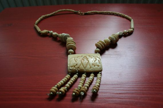 Vintage bone necklace with elephant pendant by TaylorGirlsShop