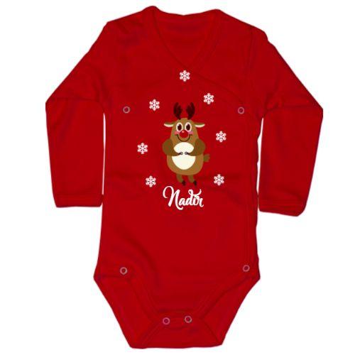 Body bebe Ren    Body bebe pentru bebelusii si bebelusele care sarbatoresc Craciunul. Este decorat cu un ren si fulgi de nea si poate sa fie personalizat cu prenumele bebelusului sau al bebelusei.         Daca doriti alte combinatii de culori, scrieti-ne la observatiile comenzii.