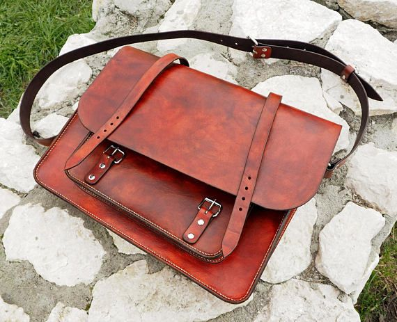 Welcome to our FRF handcraft shop, where you can find only handmade leather goods.  This time were offering our hand stitched leather mens satchel bag.  Featured bag cover is made of natural, vegtanned, leather. Its preserved with natural beeswax which makes it more resistant to water and prevents colour bleaching. Additionaly we cover the outside of the bag with water-resistant coating. The satchel is dyed and stitched in our workshop. Thats why you can choose colour of the dye and the…