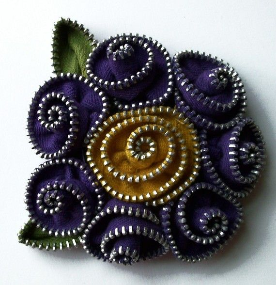 From ZipPinning's etsy shop — Purple and Gold Floral Brooch / Zipper Pin by ZipPinning Approximately 3 in 8 cm - 1442