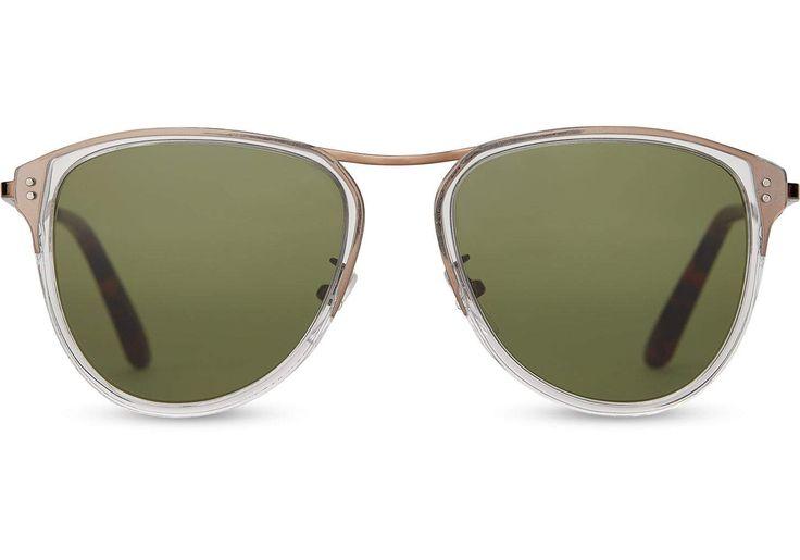 TOMS - Franco Vintage Crystal Sunglasses / Glass Bottle Green Lenses