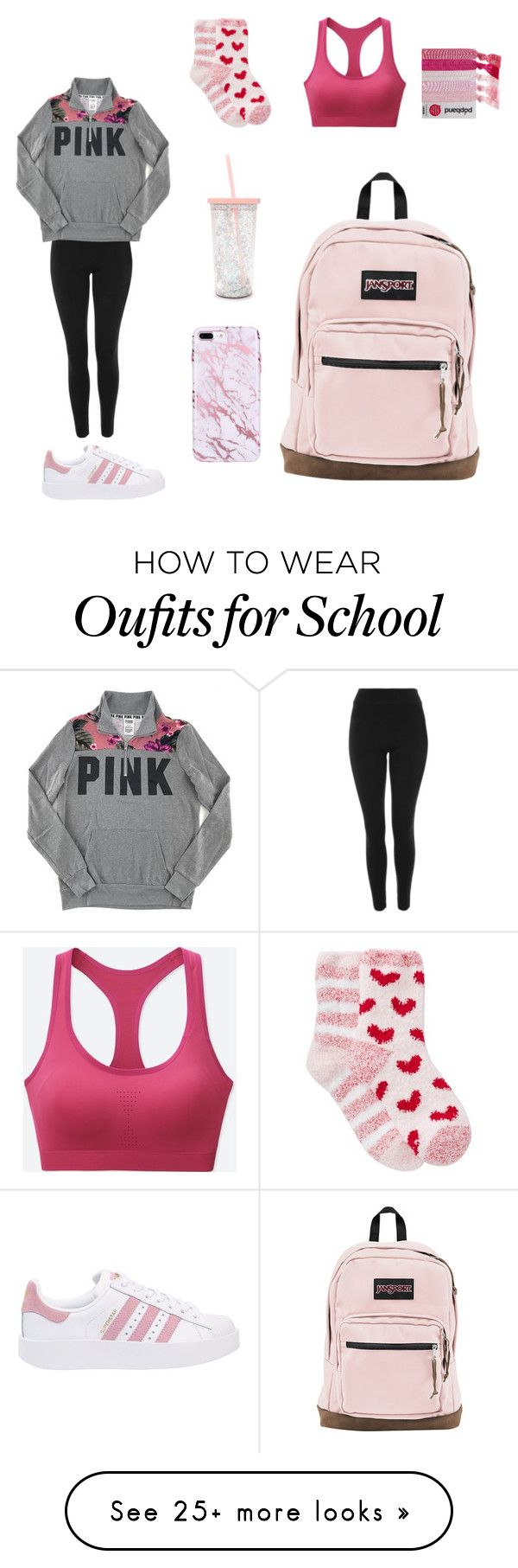 """Basic and Pink"" by awesomejpf on Polyvore featuring Topshop, Victoria's Secret PINK, Free Press, ban.do, adidas Originals, Uniqlo and JanSport"