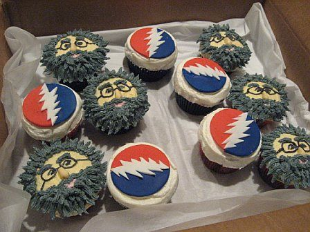 grateful dead cupcakes, @Jordan Olson, you'll love these: Birthday Cupcake, 21St Birthday, Boys Birthday, Ties Dyes, Jerry Garcia, Grateful Dead, Decoration Cupcake, Dead Cupcake, 30Th Birthday