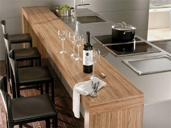 Holz Theke Kochinsel Küche Gestaltungsideen
