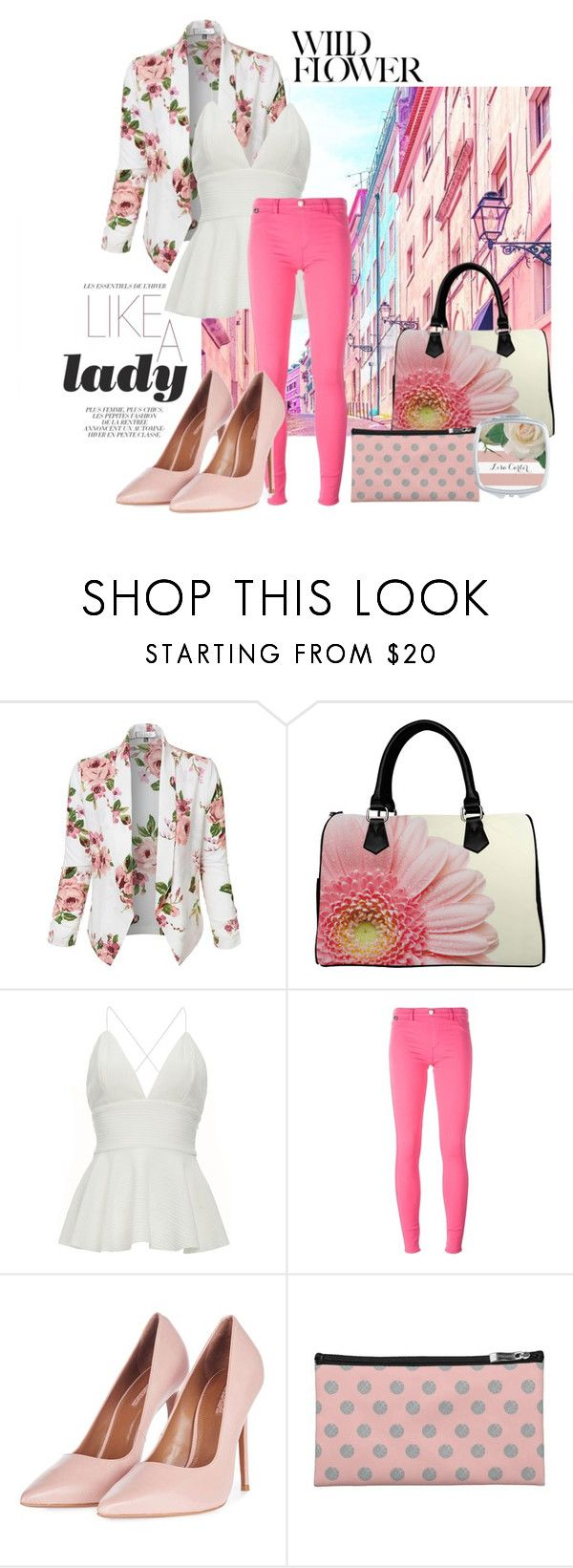 """""""Dainty Florals"""" by colormegirly ❤ liked on Polyvore featuring LE3NO, Love Moschino, Topshop, handbags, fashionset and polyvoreset"""